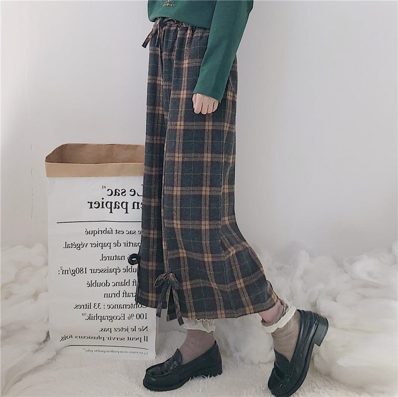 Japanese Women Lolita Style Wide Leg Pants Elastic Waist Bandage Bow Vintage Plaid Ankle-Length Pants Cute Kawaii Girl Trousers - thefashionique