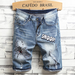 Jean Mens Short 2019 Casual Short Pants Spider Embroidery Shorts Men Biker Streetwear Denim Ripped Short Male Hole Brand Clothes - thefashionique