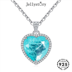 Jellystory 925 sterling silver necklace 12*12mm heart shaped sapphire gemstone pendant fashion jewelry for female wedding party