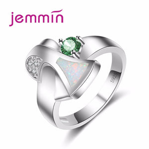 Jemmin 2018 New Elegant Engagement White Fire Opal Ring With Best Gift Wedding Ring Dark Green Opal Fine Jewelry - thefashionique