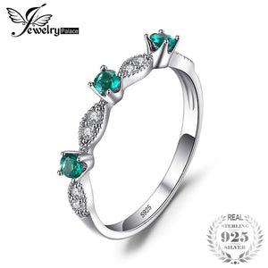 JewelryPalace 3 Stones Round Created Emerald Engagement Wedding Rings For Women Genuine 925 Sterling Silver Fashion Fine Jewelry - thefashionique