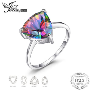 JewelryPalace Natural Rainbow Fire Mystic Topaz Ring 925 Sterling Silver Ring Engagement Wedding Jewelry Anniversary Gifts - thefashionique