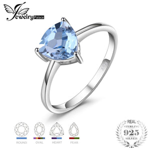 JewelryPalace Trillion 1.5ct Natural Sky Blue Topaz Birthstone Combination Ring Pure 925 Sterling Silver Senior Ladies Jewelry - thefashionique
