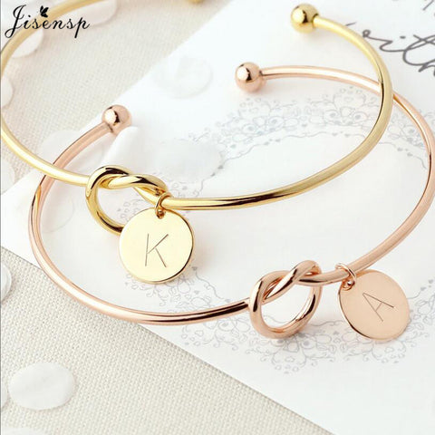 Jisensp Customized A-Z Disc Initial Letter Knot Bangle Bracelet for Women Girl Bridesmaid Jewelry Gift Rose Gold Letter Bangles - thefashionique