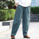 Johnature 2018 Autumn Winter New Pants Cotton Linen Women's Trouser Vintage Solid Color Lantern Pants Female Elastic Waist Pants - thefashionique