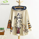 Johnature 2018 New Autumn And Winter Hoodies Hooded Loose Print Cat 2 Colour Kawaii Japan Style Harajuku Hoodies Tops Cute Warm - thefashionique