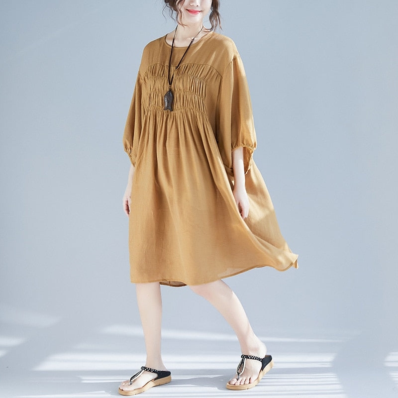 Johnature 2019 New Casual Style Plus Size Loose Three Quarter Sleeve Dress  Women Spring Summer Cotton Polyester Female Dress