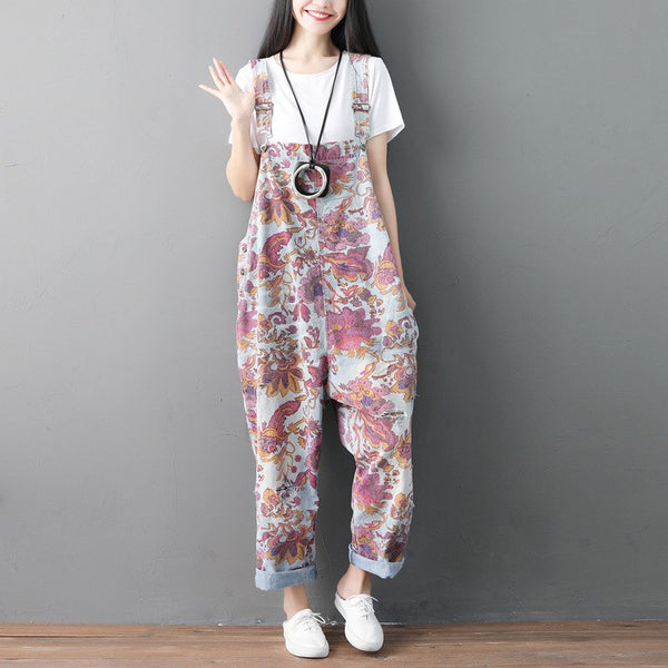 Johnature 2019 Summer New Vintage Floral Casual Loose Hole Denim Jumpsuits Print Patchwork Pockets Women Full Length Jumpsuits - thefashionique
