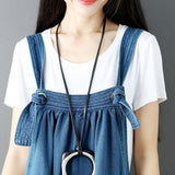 Johnature Casual Solid Color Sleeveless Denim Ankle-Length Jumpsuits 2019 Summer Loose High Waist Irregular Women Jumpsuits - thefashionique