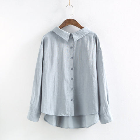 c8e5615d4989c9 Johnature Shirts Cotton Linen Blouses 2019 Spring New Turn-down Collar Long  Sleeve Button Casual