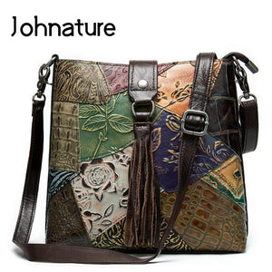 Johnature Vintage Splicing Genuine Leather Geometric Women Shoulder Bags 2019 New Retro Embossed Tassel Patchwork Messenger Bag - thefashionique