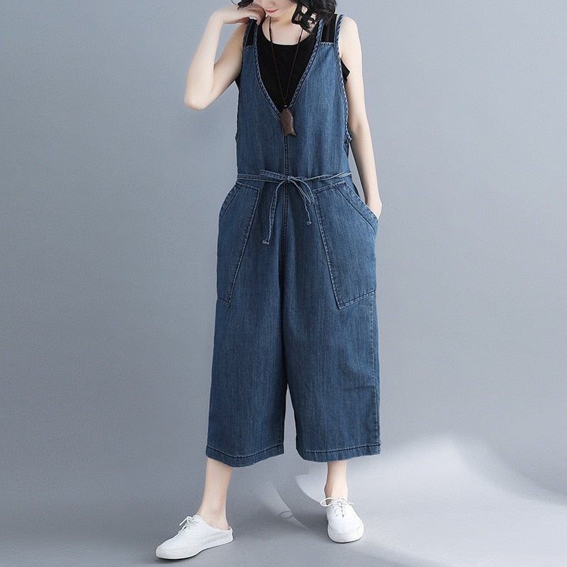Johnature Women Denim Jumpsuits Loose Blue 2019 Summer New V-Neck Pockets Casual Korean Style Women Wide Leg Jumpsuits - thefashionique