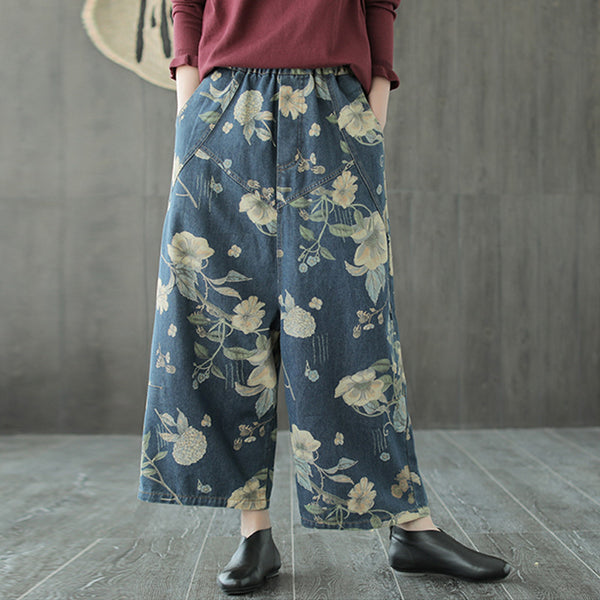 Johnature Women Print Floral Denim Jeans 2018 Autumn New Elastic Waist Vintage Wide Leg Pants Pockets Loose Casual Women Jeans - thefashionique