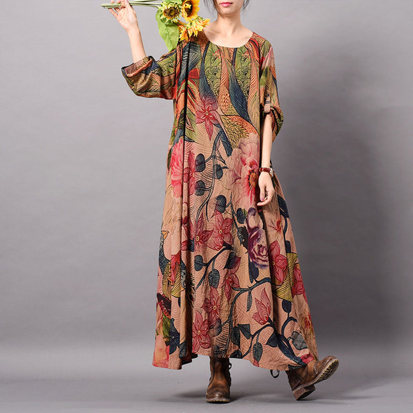 Johnature Women Print Floral Vintage Dress Chinese Style High Quality Women Cloths 2019 Spring Long Sleeve Loose Female Dresses - thefashionique
