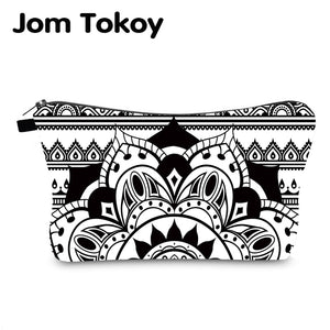 Jomtokoy New Women Mandala Printing Pattern Cosmetic Bag Handbag Female Zipper Purse Small Make Up Bags Travel Beauty Bag - thefashionique