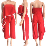 Jumpsuits Playsuits Women Sexy Rompers Strapless Ruffles Summer 2018 One Shoulder Wide Leg Pants Female Jumpsuit Playsuits - thefashionique