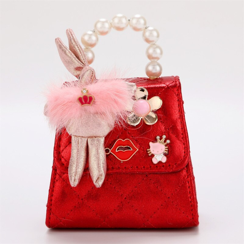 KAFVNIE Children Mini HandBag Lovely Rabbit Princess Bag High End PU Party Mobile Phone Handbag  Kid Evening Party Purse Bags