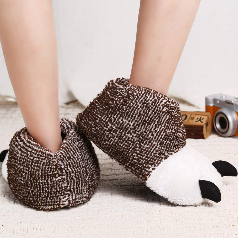 Cute Womens Mens Animal Bear Claws Winter Warm Plush Slippers Indoor Shoes