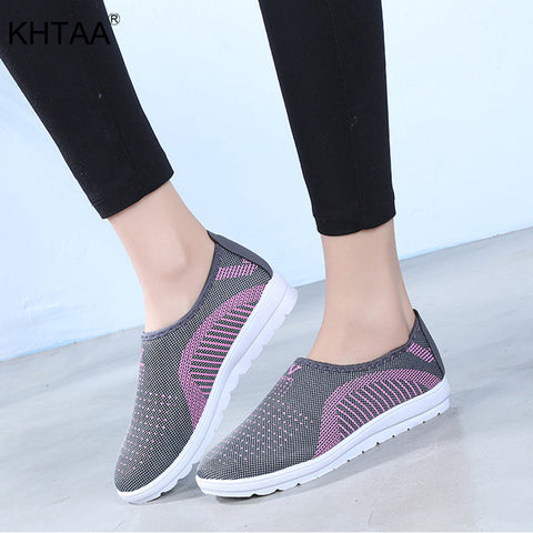 KHTAA Women Autumn Casual Flat Sneakers Plus Size Female Mesh Shallow Slip On Vulcanize Shoes Ladies Breathable Leisure Footwear