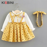 KISBINI Cute Baby Girls Dress Autumn 2018 Fashion Printed Dot Bow Knot Infant Dress Knitted Pullover Dress+Headband Kid Clothes