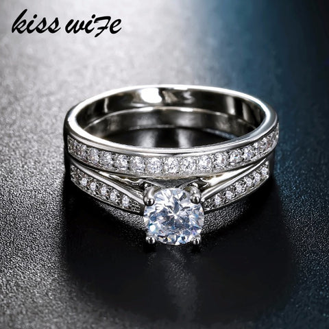 KISSWIFE 2pcs/lot Silver Double Rings Set Engagement Woman Cubic Zirconia Ring For Women Ladies Lover Party Wedding Jewelry - thefashionique