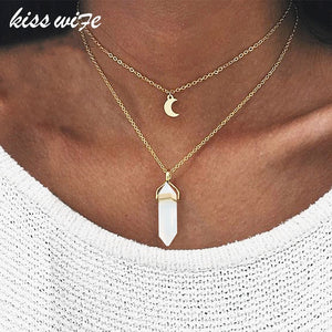 KISSWIFE Fashion Bohemia 1 PCS Natural Stone Moon Choker Gold Color Crystal Pendant Necklace For Women Wedding Party Gift - thefashionique