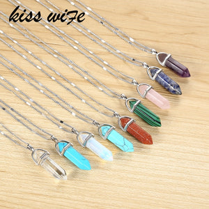KISSWIFE Hot sale Hexagonal Column Quartz Necklaces Pendants Vintage Natural Stone Bullet Crystal Necklace For Women Jewelry - thefashionique