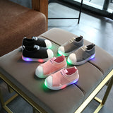 KKABBYII Kids LED Sneakers Breathable Children Sports Shoes For Baby Girls Boys Luminous Shoes with Light Size 21-30 - thefashionique
