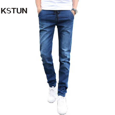 KSTUN Skinny jeans men Drawstring Slim Fit Denim Joggers Stretch Male Jean Pencil Pants Blue Men's jeans fashion Casual Hombre