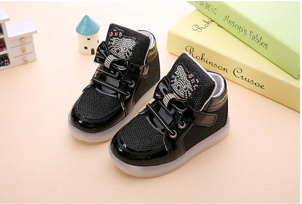KT Cats Child Luminous Sneakers 2018 New Brand Rhinestone footwear kids LED Flashing Boot for Baby girls Casual Shoes with light - thefashionique