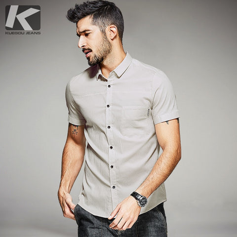 KUEGOU New Summer Mens Fashion Shirts Patchwork Apricot Color Brand Clothing For Man's Short Sleeve Clothes Slim Fit Tops 25536