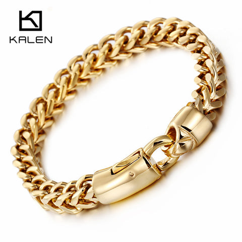 Kalen Dubai Gold Color Link Chain Bracelet For Men Stainless Steel Jewelry High Polished Hand Chain Accessories Birthday Gifts - thefashionique