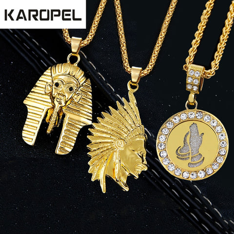 Karopel Vintage Jewelry Charm Men Women Punk Jewelry Hip hop Necklaces Virgin Mary Jesus Angel Pendant & Necklace Chain Collier