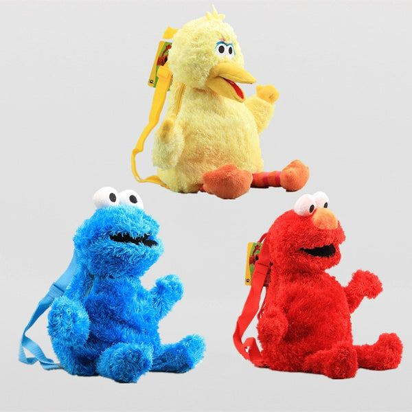Kawaii 45cm Sesame Street Elmo Monster Cookie Bird Big Plush Backpack Children's Shoulder Bag For Baby Kids Birthday Gifts - thefashionique