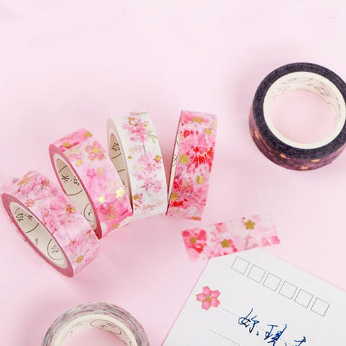 Kawaii flower paper masking tape Lovely Sakura series Washi tapes Stationery decoration stickers Diary album supplies (tt-2945)