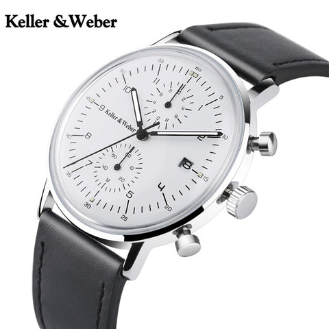 Keller & Weber Chronograph Men's Watch Top Luxury Gift Fashion Quartz Clock Male Genuine Leather Ultra Thin Watches for Men 2018