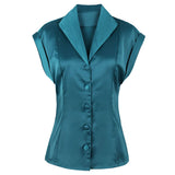 Kenancy 2018 New Women 50s 60s Cocktail Party Vintage Blouses S~2XL Solid Color Cap Sleeves Summer Casual Feminino Blusas Shirts - thefashionique