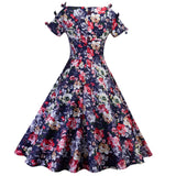 Kenancy Cotton Floral Print Summer Vintage Dress Office Retro Women Dress Party Vestidos Ties Bowknot Sleeves Casual Sundress - thefashionique