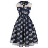 Kenancy Plus Size Floral Print Vintage Dress Women Sexy Mesh Party Dresses Turn Down Collar Casual Office Dress Tunic Vestidos - thefashionique