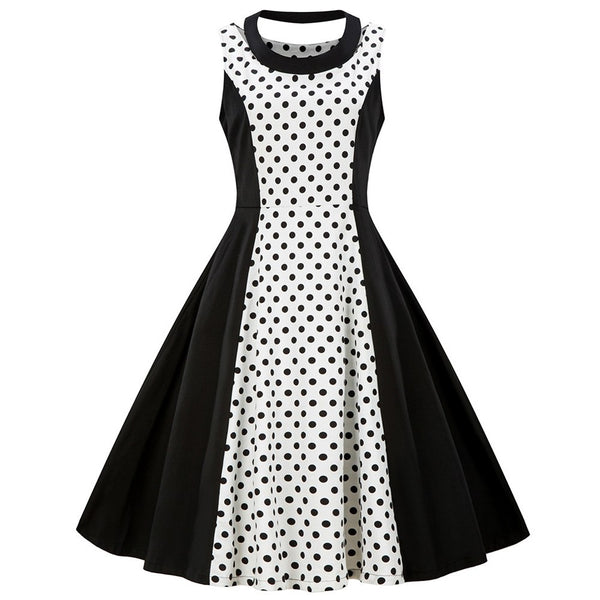 Kenancy Polka Dot Print Patchwork Women Vintage Dress Summer O-Neck Sleeveless A-Line Dress Cotton Pin Up Party Dresses S-4XL - thefashionique