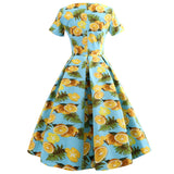 Kenancy Series Women Dress Spring And Summer Round Neck Lemon Printing Design Short Sleeve Corset Retro Dress - thefashionique