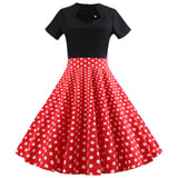 Kenancy Spring And Summer New Arrival Square Collar Dot Stitching Vintage Dress Over Size Short Sleeve Corset Retro Dress - thefashionique