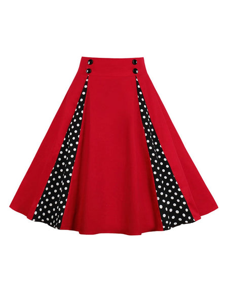 Kenancy Women Skirts New Button Spring Summer Red Polka Dot Print Retro Skirts 50s 60s Vintage Rockabilly Swing Feminino Skirts - thefashionique