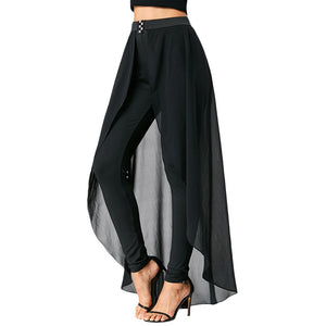 Kenancy Women Summer Chiffon Elastic Waist Casual Trousers Slimming High Waist Pants With Skirt Ladies Skinny Pencil Pants Black - thefashionique