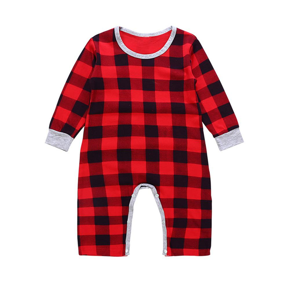 Kidlove Christmas Baby Rompers Cute Jumpsuit Cloth Sets Long Sleeve Plaid Baby Romper red Plaid Baby Rompers san0 - thefashionique