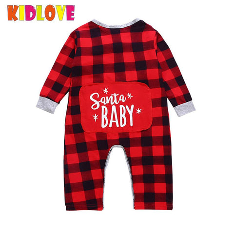 Kidlove Christmas Baby Rompers Cute Jumpsuit Cloth Sets Long Sleeve Plaid Baby Romper red Plaid Baby Rompers san0