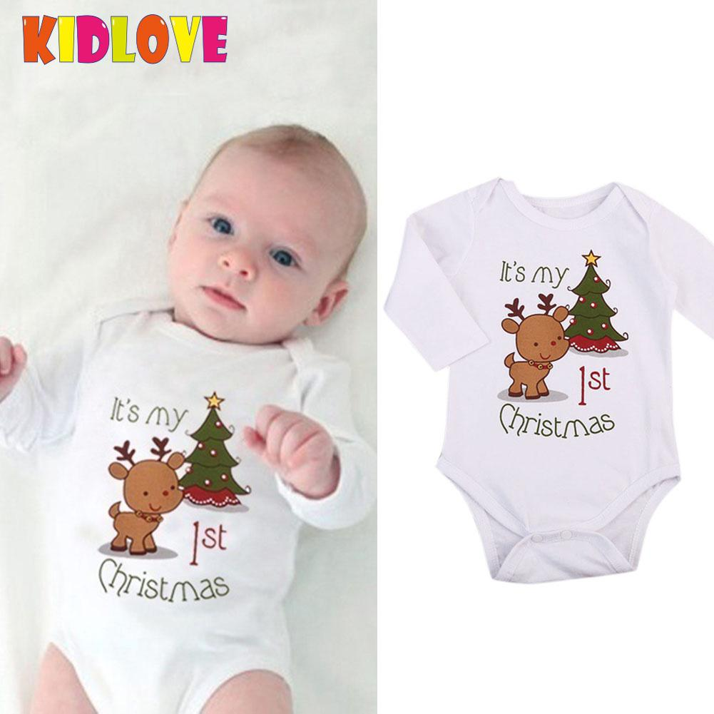 Kidlove Christmas Newborn Baby Soft Cotton Jumpsuit cloth sets Cartoon Elk Long Sleeve Romper san0 - thefashionique