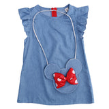 Kids Baby Girl Dress Minnie Mouse Bag +Demin Flying Sleeves Dress Gown Party Dress Sleeveless Clothes - thefashionique