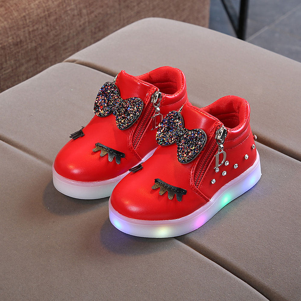 Kids Children Girls Crystal Bowknot LED Luminous Boots for toddlers baby girls Casual Sport Shoes Sneakers #XTN - thefashionique