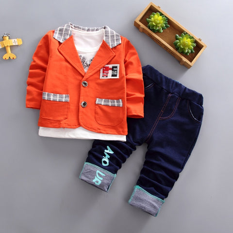 Kids Clothes Thanksgiving Outfits for Boys Christmas Suit Korean Style Children 3pieces/set Costume My First Christmas Boy
